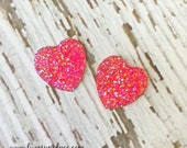 Valentine's Day Pink Heart Embellishments - 30mm Flat back - DIY Valentine's Crafts - GLITZY Pink Heart -