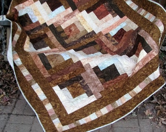Lap Quilt, Sofa Quilt, Quilted Throw - Handmade Quilt - Log Cabin Brown Isn't Boring