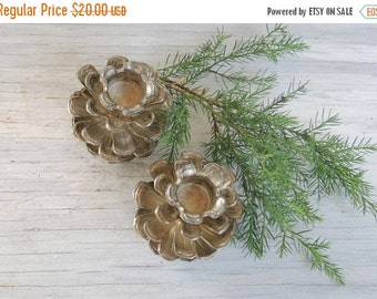 On Sale Vintage Brass Pinecones Candle holders, Rustic Farmhouse Woodland Home Decor Set of 2, Metal Candleholders Taper