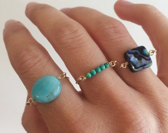 Abalone square ring -smaler size