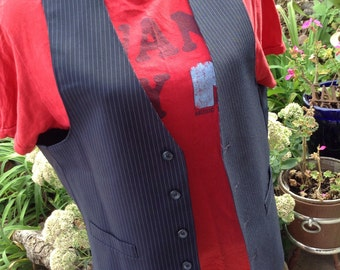 Vintage hipster men's blue pinstripe vest size large perfect for guys or gals free shipping
