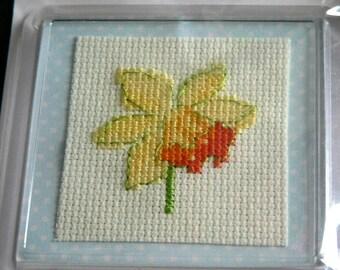 Cross Stitch Coasters/Drinks Mats - Set of 2 - Daffodil Design