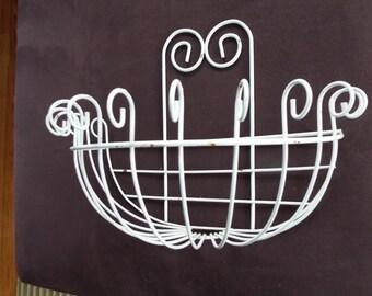 vintage ornate wall shelf white wire wall planter basket shabby chic