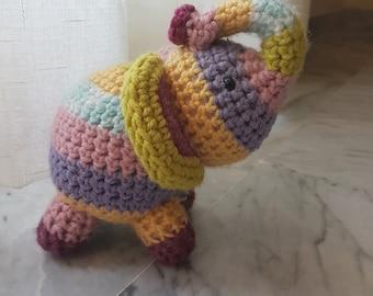 Elephant Crochet Stuffed Doll Toy Round Adorable Baby Rainbow