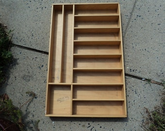 wooden shelf/ display/ handmade /11 cubby holes/ natural wood/stands by itself
