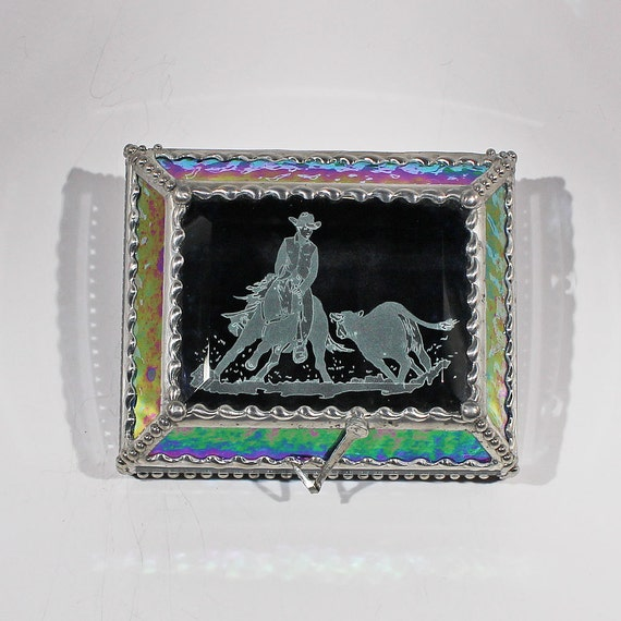 Etched Cutting Horse - Treasure Box