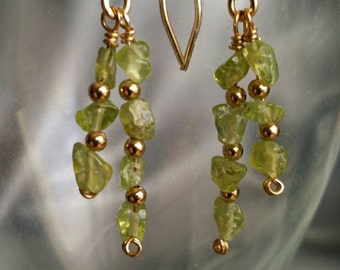 Peridot Earrings, Handcrafted Gold Fill earrings with genuine Peridot gemstones -- Sparkling Festive Green (#1391)