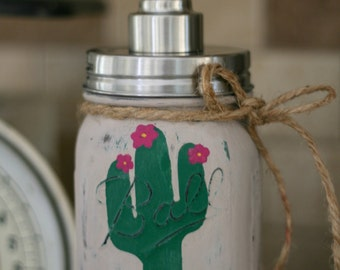 Cactus Mason Jar Stainless Steel Soap Dispenser, Southwest, Rustic