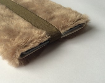 """iPad mini case, ipad case cover, cool, faux fur, tablet cover - """"creamy brown"""""""