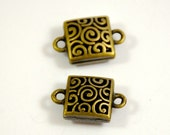 10Beads Charm Retro connector Antique Brass bronze Plated Beads ----- 15mm x 23mm x 8mm----- 10Pieces E02