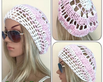 BUY1GET1HALFPrice Cotton spring sunmer Womens teens handmade crochet knit oversized slouch beanie beret hat flower circle mandala dread tam