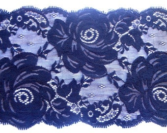 """Black Rose Extra Wide Stretch Lace, Black, 6 3/4"""" inch wide, 1 Yard For Apparel, Home Decor, Accessories, Mixed Media, Scrapbook"""