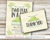 Two Peas In A Pod Baby Shower: Matching Thank You Card, 3x4, Twin Baby Shower, Printable, Gender Neutral, Blue, Green