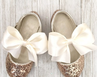 Infant girl shoes, Toddler girl shoes, Kids Girls Shoes -GOLD ROCK glitter mary-jane with satin ribbon bow for flower girls