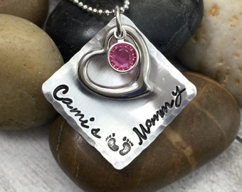 Mom Necklace - Mommy Necklace - Mothers Day Gift - Personalized Necklace - Name Necklace - Pewter Necklace - Hand Stamped - Baby Feet Prints