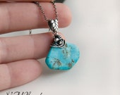 Wire Wrapped Turquoise Slice Necklace, Sterling Silver, Genuine Persian Turquoise, Gemstone Jewelry, Artisan, Boho, OOAK