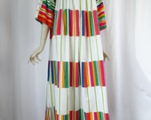 RARE 1973 dated MARIMEKKO Design Research tribal striped cotton caftan/ Suomi Finland/Harvard's Department of Architecture: size Medium