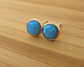 Opal stud earrings,14k Solid gold  4/6/10mm, opal post earrings.-lowest price for solid gold