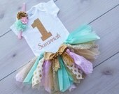 Personalized Tutu Set 1st Birthday - First Birthday Tutu - Mint and Gold Tutu - Gold Glitter Bodysuit - Gold Glitter Baby Girl Tutu