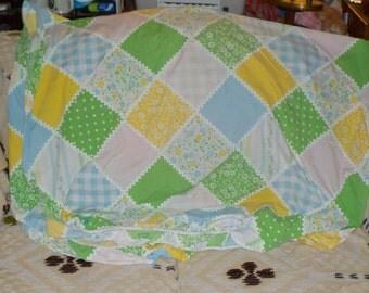 Vintage Sheets, Vintage Bedding,Vintage Home Decor, Vintage Patchwork Flowered Twin Sz Fitted Sheet Pastel Colors ,Vintage Home Decor :)S