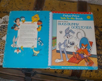 Vintage Fisher Price Talk to Me Book Bugs Bunny Goes to Sea,Vintage Childrens Book,Vintage book,  :)S