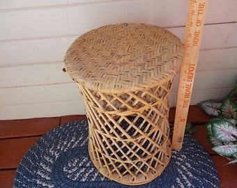 Sweet Vintage Bamboo Small Round Table.,Bamboo,Rattan,Wicker,Table,Small Table,Shabby Cottage Chic / Not included in Discount Coupon Sale