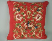"""Vintage Wool Needlepoint Pillow,Gorgeous Floral on Red, 16"""" Square, Velvet Backed"""
