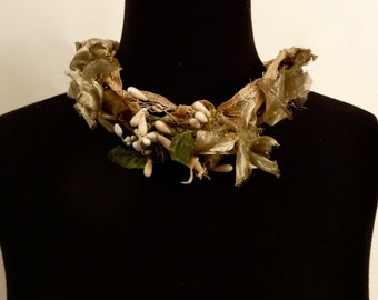 French vintage wax flower, lace, ribbon and fabric cluster crown, decor or neck piece. Paris