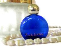 Vintage Perfume Bottle, Miniature Niki de Saint Phalle Perfume Bottle, Cobalt Blue Glass