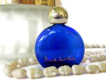 Vintage Cobalt Blue Glass Perfume Bottle, Miniature Niki de Saint Phalle Perfume Bottle
