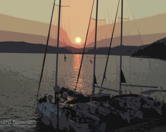 Abstract boat at sunset, bright colors, 11 x 14 photograph