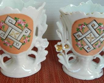 Vase Pair, Fairings, Carnival prize or souvenir, circa late 1800s or early 1900s, Fair condition