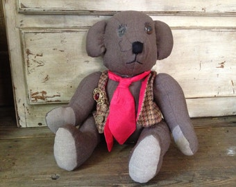 Handmade Fabric Teddy Bear Doll Made in Scotland
