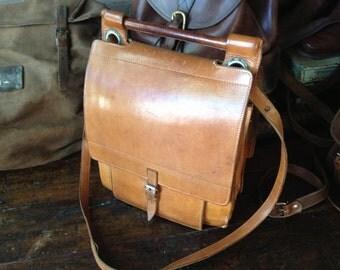 Sienna Brown Saddle Leather Satchel, Saddle Bag, Mini Briefcase,  Man Bag, Mens Messenger