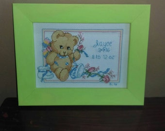 Teddy Bear Cross Stitched Birth Announcement Personalized to Order
