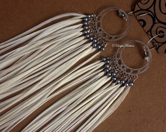 Long White Feather Earrings Festival Accessories Boho Wedding Gray Pearl Silver