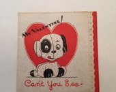 Valentine Card Dog / vintage 1930's-1950's Velum Valentine Card Little Doggy for Mixed Media, Altered Arts, Journals, Collecting, etc.