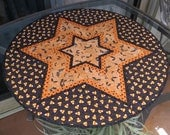 Quilted Halloween Bats Table Topper Quilt Orange Polka Dot 634