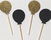 24 Gold Glitter/Black Cupcake Toppers/Food Picks/Party Supplies No. 413