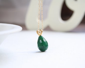 ON SALE- Green stone necklace, Delicate stone necklace, Stone pendant necklace, Green Jade pendant, Long Gold Filled stone pendant necklace