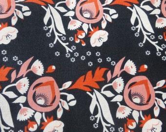 1/2 Yard Organic Cotton Fabric - Cloud 9 Fabrics, Vignette, Poppy Pink