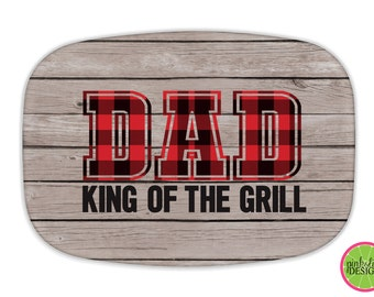 Personalized Melamine BBQ Platter, Monogrammed Platter, Summer, Tailgaiting Tray, Barbeque, BBQ Tray, Father's Day Gift, King of Grill