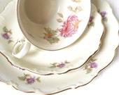 vintage teacup trio german porcelain teacup Schumann tea cup pink chrysanthemums flowers floral tea cup trio 815