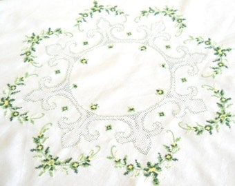 RESERVED  for B -embroidered vintage tablecloth cross stitch tablecloth green vintage tablecloth green embroidered tablecloth shabby chic