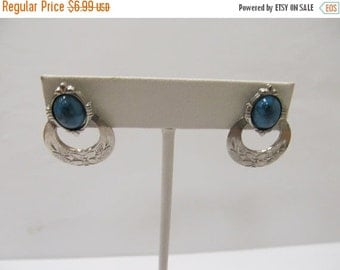 ON SALE Vintage Silver Tone Faux Turquoise Earrings Item K # 1591