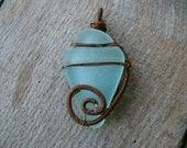 Mermaid sea glass pendant, sea creature, Birthday gift pendant, brown copper wire, genuine sea glass jewelry, wire wrapped pendant, for her