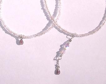 Romantic Delicate Petite Silver Light Pink Rose Glass Crystal Necklace Bracelet set