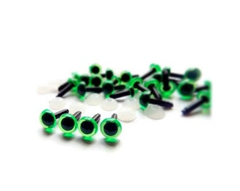 6mm Safety Plastic eyes Amigurumi craft eyes Green - 10 PAIRS I11