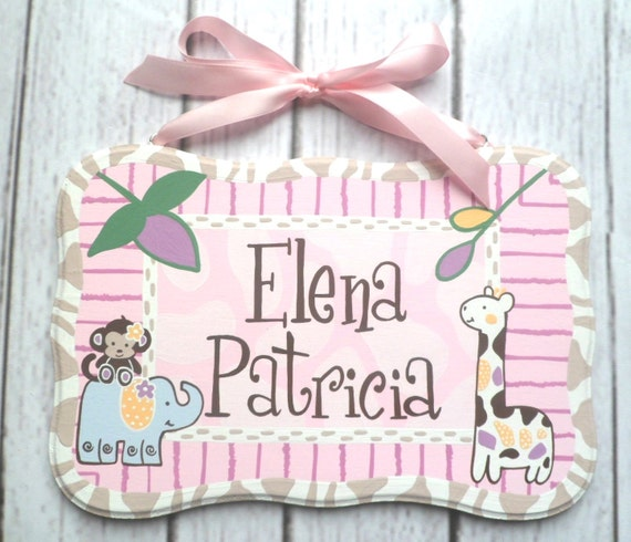 "Custom Hand painted wooden personalized name door plaques for nursery 6""x10"" M2M Jacana design"