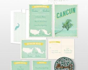 Destination wedding invitation Cancun Mexico Beach Destination Wedding Invitation RSVP Info Card Set - bilingual wedding invitation